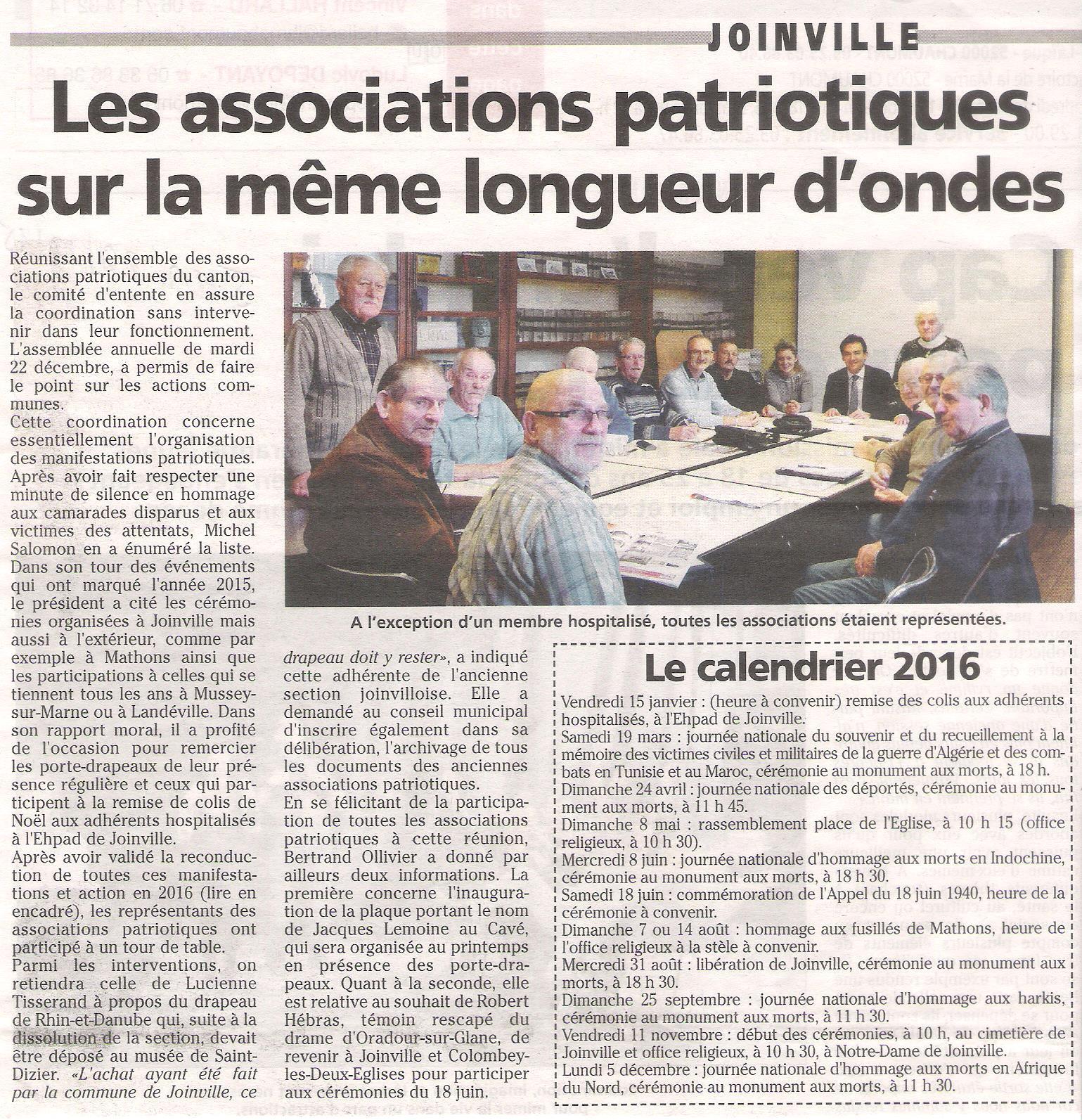 Réunion comité d'entente - 22-12-2015