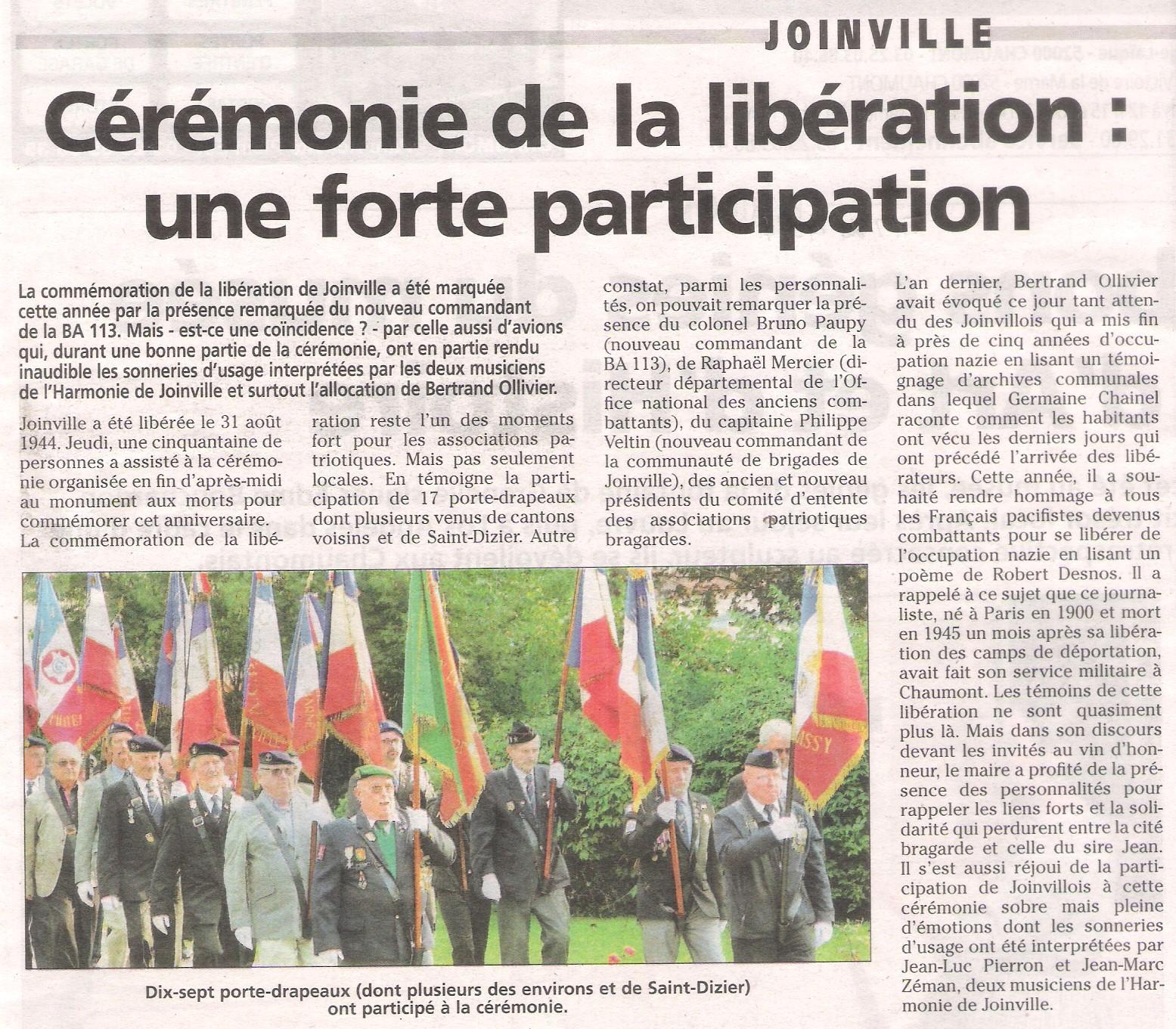 11 - 31 août 2017 - Libération de Joinville